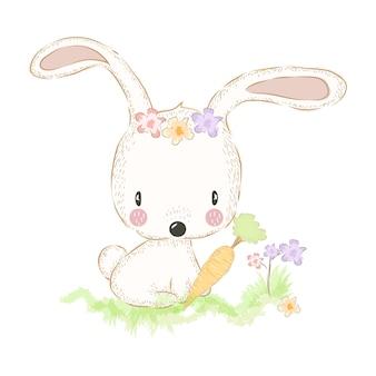 Schattig konijntje en wortel