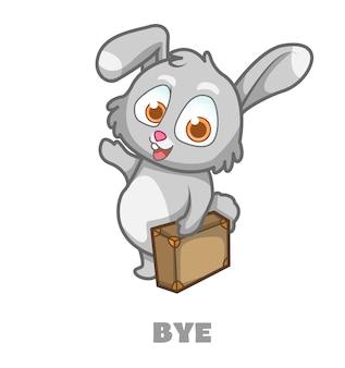Schattig konijntje mascotte cartoon karakter tot ziens