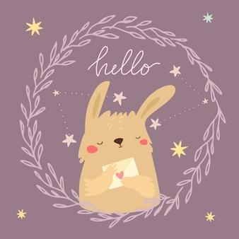 Schattig konijntje met brief