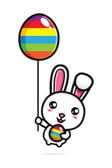 Schattig konijntje met decoratieve eieren gelukkige paasdag Premium Vector