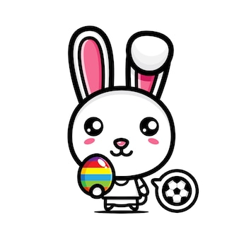 Schattig konijntje met decoratieve eieren gelukkige paasdag