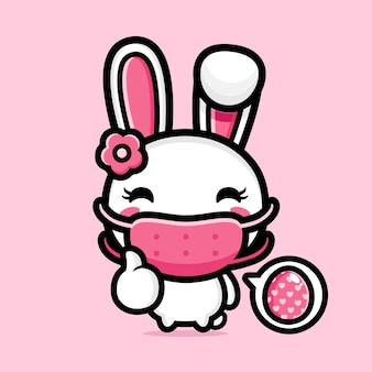 Schattig konijntje met gezichtsmasker