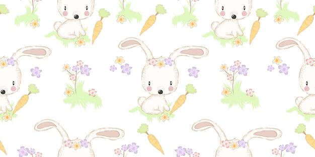 Schattig konijntje met wortel naadloos patroon