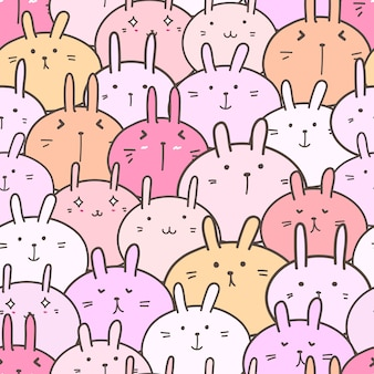 Schattig konijntje naadloze patroon achtergrond