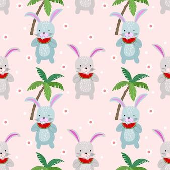 Schattig konijntje naadloze patroon met watermeloen. zomertijd