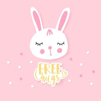 Schattig konijntje wenskaart. grappige illustratie. heerlijk konijn.