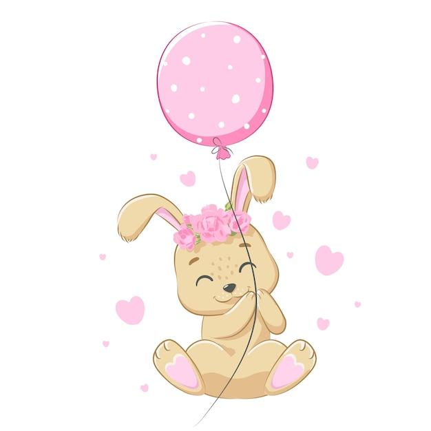 Schattig konijntjesmeisje met een ballon lacht. vectorillustratie van een tekenfilm.