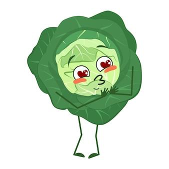 Schattig koolkarakter wordt verliefd op ogen, harten, gezicht, armen en benen. de grappige of glimlach emoties groente met ogen. platte vectorillustratie