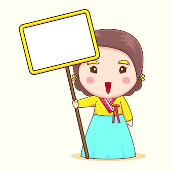 Schattig koreaans meisje dat met hanbok leeg bord houdt