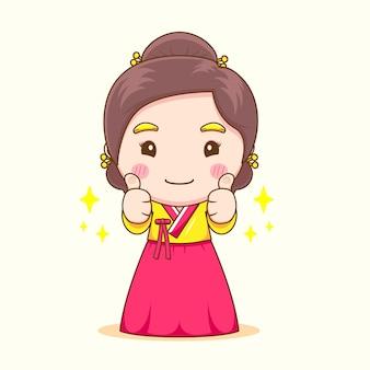 Schattig koreaans meisje poseren duimen omhoog