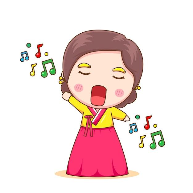 Schattig koreaans meisje zingt een lied met hanbok