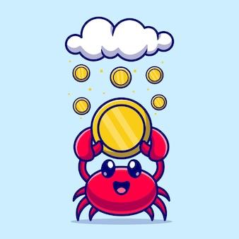 Schattig krab met gouden munt cartoon vectorillustratie pictogram. dierlijke pictogram bedrijfsconcept geïsoleerde premium vector. platte cartoonstijl