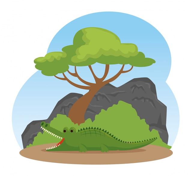 Schattig krokodil wild dier reservaat Gratis Vector