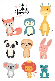 Schattig kwekerij wilde dieren pastel hand getekende collectie pinguïn, giraffe, panda, luiheid, konijn, koala, leeuw, kikker