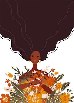 Schattig lang haar zwart meisje met een boeket bloemen