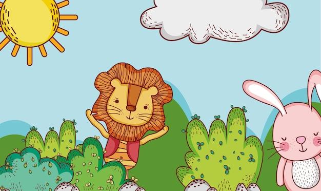 Schattig leeuw en konijn in bos doodle tekenfilms