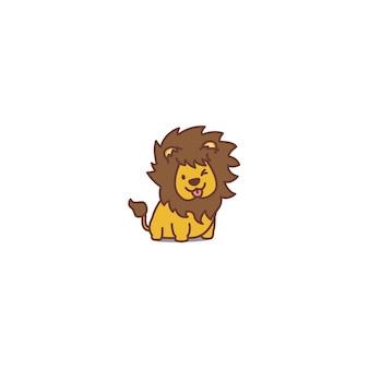 Schattig leeuw knipogend cartoon icoon