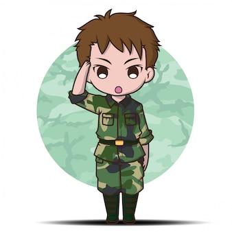 Schattig leger soldaat jongen cartoon.