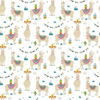 Schattig llama naadloze patroon ontwerp