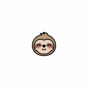 Schattig luiaard gezicht cartoon icoon
