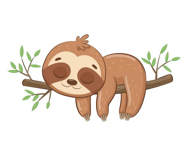 Schattig luiaard slaapt zoet. cartoon vectorillustratie.