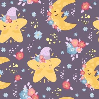 Schattig maan en sterren naadloos patroon in kleuren.