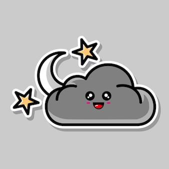 Schattig maan- en wolkencartoonontwerp