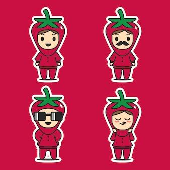 Schattig mascotte karakter stawberry