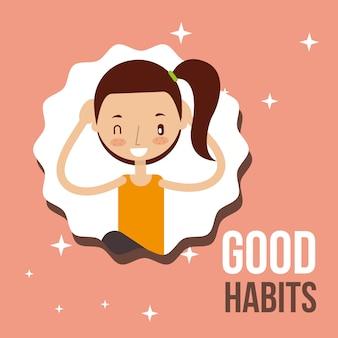Schattig meisje activiteit levensstijl goede gewoonten