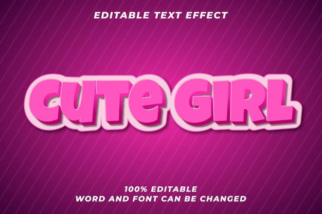 Schattig meisje bewerkbaar tekststijleffect