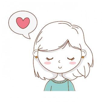 Schattig meisje cartoon stijlvolle outfit portret tekstballon