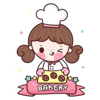 Schattig meisje chef-kok cartoon serveren koekje kawaii bakkerij winkel mascotte
