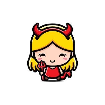 Schattig meisje dat duivelskostuum draagt