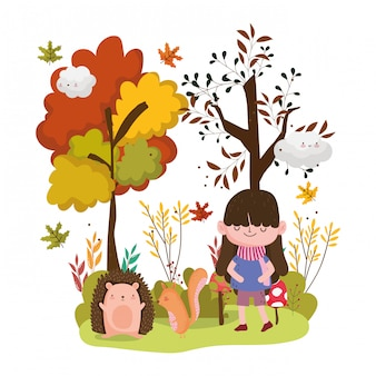 Schattig meisje dieren hallo herfst