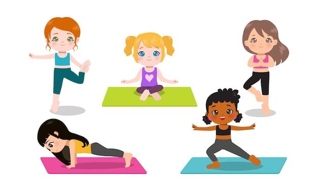 Schattig meisje doet yoga in verschillende poses