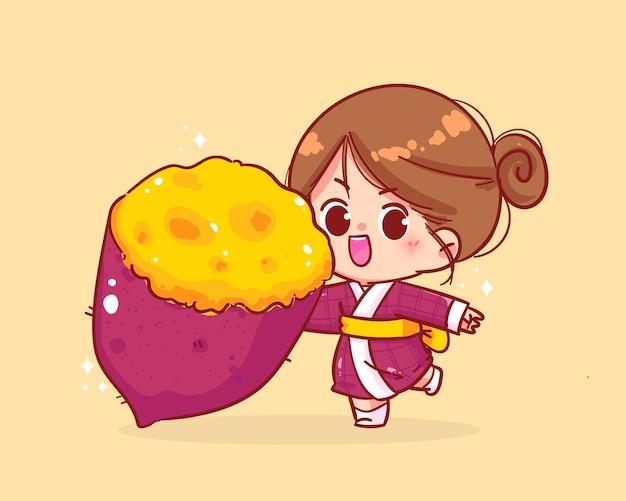 Schattig meisje en japanse gestoomde zoete aardappel cartoon kunst illustratie