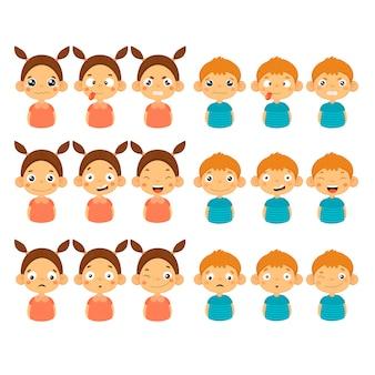 Schattig meisje en jongen gezichten tonen verschillende emoties