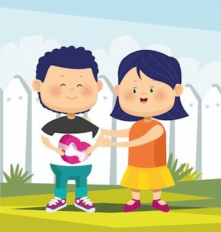 Schattig meisje en jongen verliefd op chocolade vak over witte hek