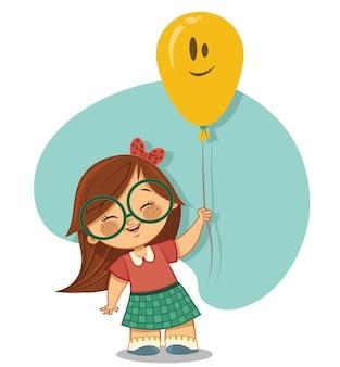 Schattig meisje geniet van haar ballon vectorillustratie