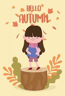 Schattig meisje hallo herfst poster