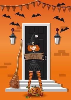 Schattig meisje in een heksenpak in de buurt van een huis dat is versierd met halloween. leuke heks feliciteert met halloween. vector illustratie