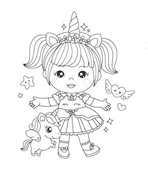 Schattig meisje in eenhoornkostuum kleurplaat Premium Vector