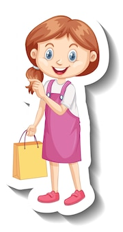 Schattig meisje in roze jurk stripfiguur sticker