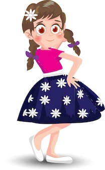 Schattig meisje in staande positie cartoon
