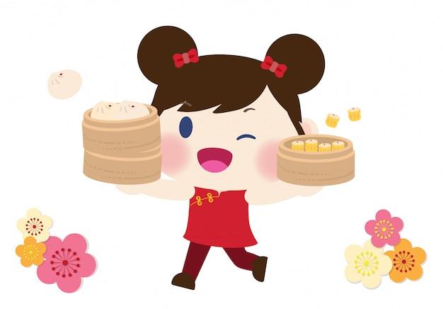 Schattig meisje in traditionele chinese kleding en dimsum
