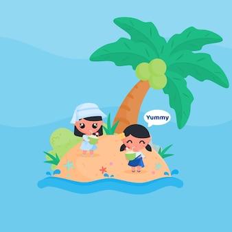 Schattig meisje karakter kokosnoot drinken op het strand in de zomer platte ontwerp cartoon stijl vector
