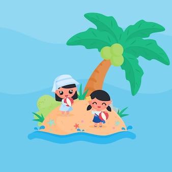 Schattig meisje karakter spelen strandbal op het strand in de zomer platte ontwerp cartoon stijl vector