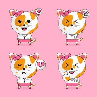 Schattig meisje kat secretaris kawaii mascotte karakter