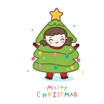 Schattig meisje kerstboom karakter cartoon