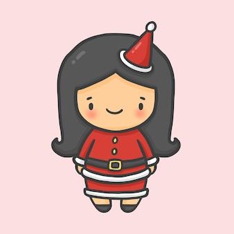Schattig meisje kostuum santa christmas hand getrokken cartoon stijl vecto